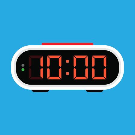Icona della sveglia digitale. Illustrazione vettoriale, su sfondo blu Vettoriali