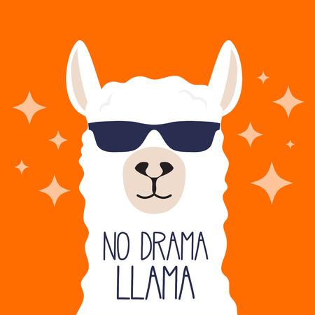 Weißes Lama mit Sonnenbrille und Schriftzug. Kein Drama Lama. Motivationsplakat für Drucke. Vektorillustration.