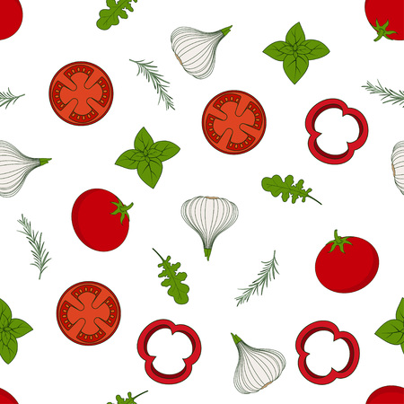 seamless pattern of fresh green leaves of arugula, pieces of tomatoes and peppers, garlic, organo and basil, freshly decorated arugula wallpaper, vegetarian background