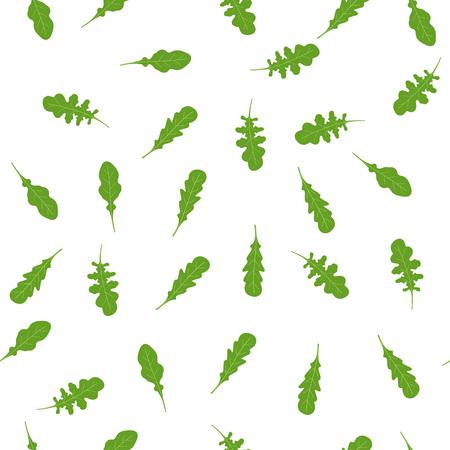 seamless pattern of fresh green leafs of arugula, freshly decorated uccola wallpaper, vegetarian design Ilustrace