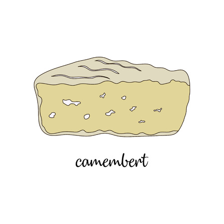 piece of cheese with texture on white background, piece of cartoon camembert isolated on white Иллюстрация
