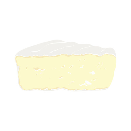piece of cheese on white background, camembert slice is isolated on white background