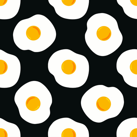 pattern with egg on black, background with fried eggs, wallpaper with food Illustration