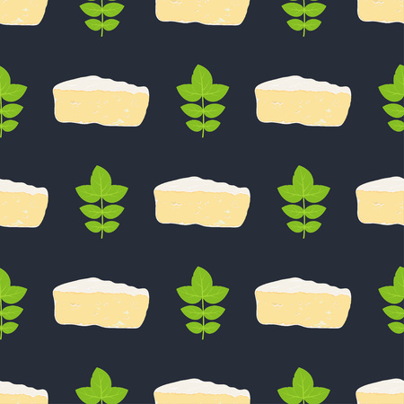 pattern with camembert and basil on dark, cheesy background with seasoning, delicious wallpapers Illustration