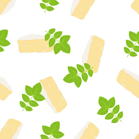 pattern with camembert and basil on white, cheesy background with seasoning, delicious wallpapers Illustration