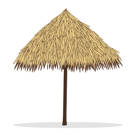 Wooden sunshade, tiki hut umbrella. Beach umbrella made of reeds. Vector illustration isolated on white background 矢量图像