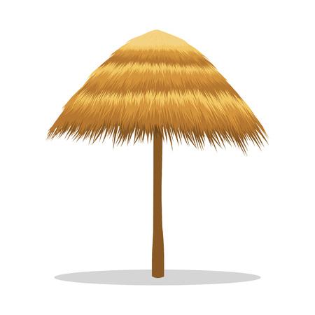 Parasol de madera, sombrilla tiki hut. Sombrilla de playa hecha de cañas. Ilustración de vector aislado sobre fondo blanco.