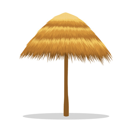 Wooden sunshade, tiki hut umbrella. Beach umbrella made of reeds. Vector illustration isolated on white background Çizim