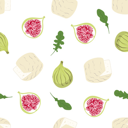 Seamless pattern with cheesecamper squash, fig and arugula on white, cheesy background for any design, product wallpapers