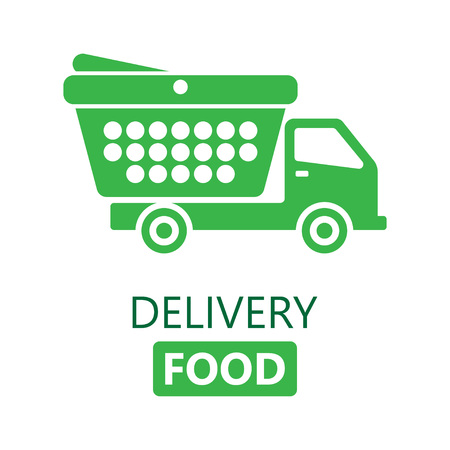 Food delivery concept. Online ordering of food. Free shipping, 24 hour delivery. vector illustration