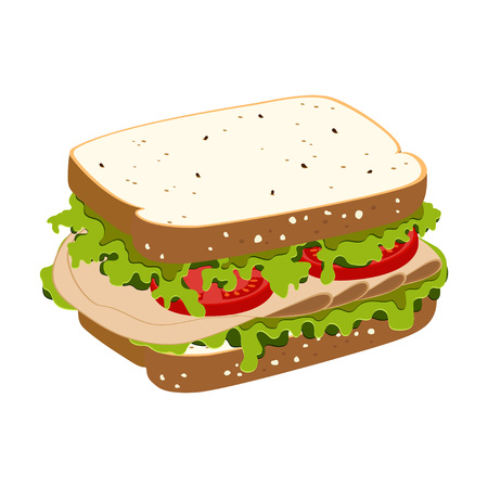 Sandwich with ham, tomatoes, lettuce and toast isolated on white background, healthy breakfast, lunch