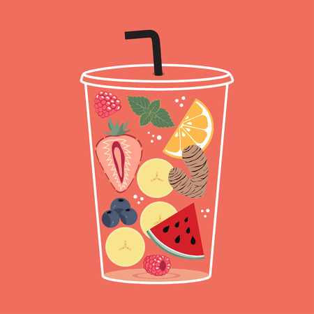 Glass of tinting notes of ginger, strawberry, watermelon, orange, raspberries, blueberries and peppermint, banner with fruit tonic lemonade, a lass with drink and drink Archivio Fotografico - 103514762