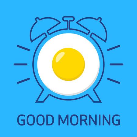 Good Morning. Fried egg and alarm clock. Vector illustration Stock Illustratie