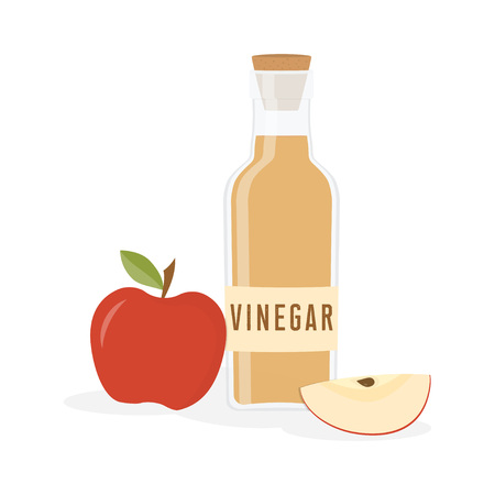 Red apple and bottle of vinegar are isolated on white background, salad liquid, good seasoning