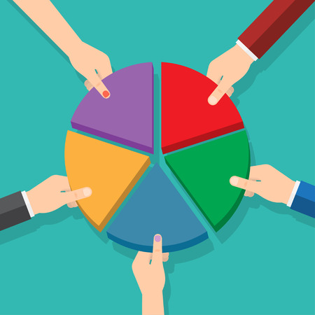 Five hands picking pie chart parts. Market share. Vector illustration Stock Illustratie