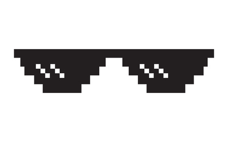 Pixel glasses icon. Thug life meme glasses. Isolated on white background. Vector illustration Vectores