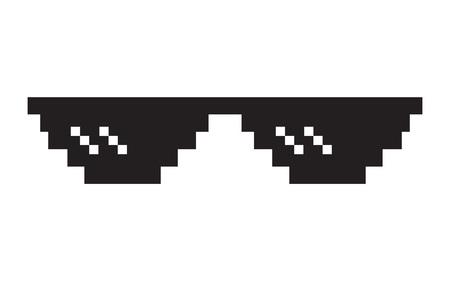 Pixel glasses icon. Thug life meme glasses. Isolated on white background. Vector illustration Illustration