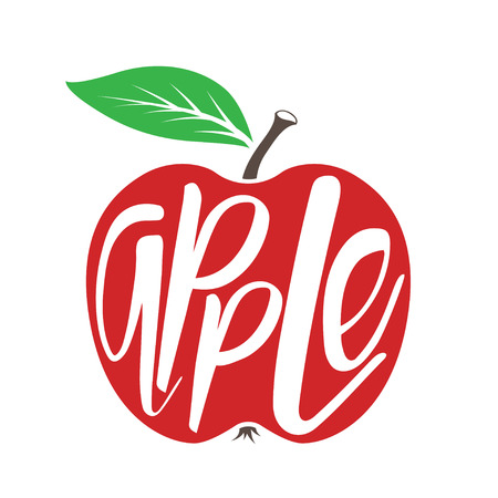Red apple isolated on white. Word apple inscribed in fruit shape. Vector illustration