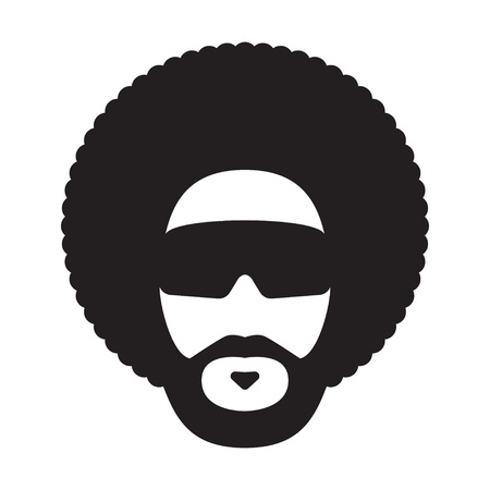 African man with afro hairstyle and sunglasses. Afro Haircut. Vector illustration