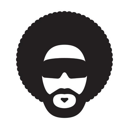 Hombre africano con peinado afro y gafas de sol. Corte de pelo afro. Ilustración vectorial