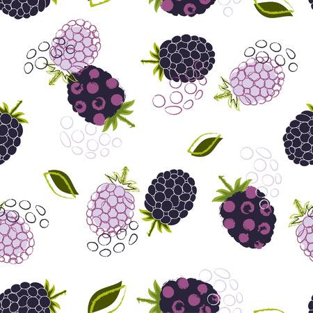 Abstract seamless pattern with blackberry and leaves on white, fruit wallpaper, berry background