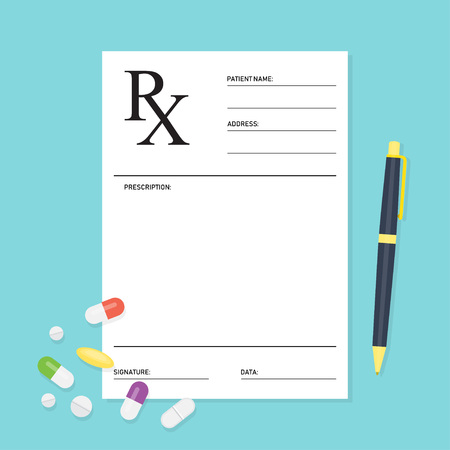 Empty medical prescription Rx form with pills. Healthcare. Vector illustration Flat style