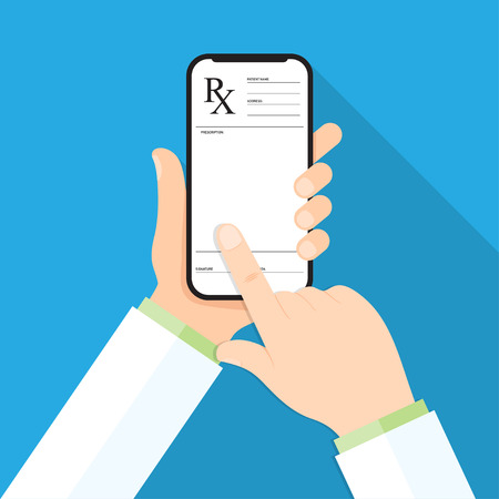 Doctor's hand holding a smartphone with rx prescription on a display. Patient gets prescription by phone. Vector illustration.