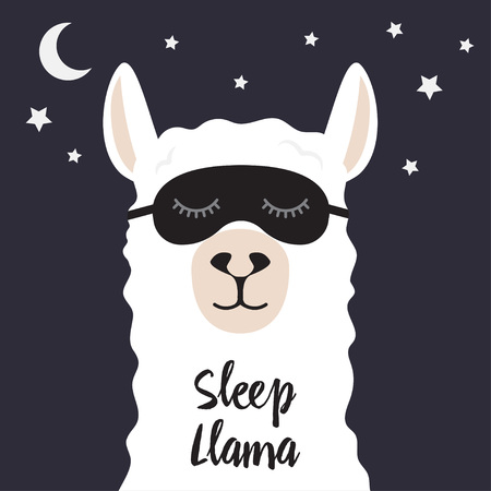 Sleeping llama. Wild animal guanaco, alpaca, vicuna sleeps with moon. Vector illustration