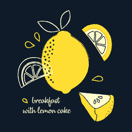 banner with slice of lemon pie, whole lemon and pieces on dark background, delicious breakfast with lemon cake, snack with citrus cake