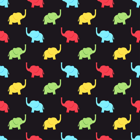 seamless pattern with multicolored elephants on black, animal colored background Standard-Bild - 114881099