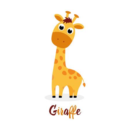 Linda jirafa de dibujos animados con inscripción sobre fondo blanco, animal divertido para cualquier diseño Ilustración de vector