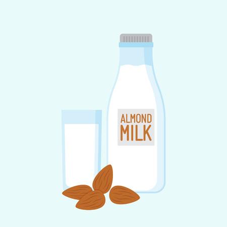 Almond milk with nuts. Lactose free. Vector illustration. Flat style Vektorgrafik