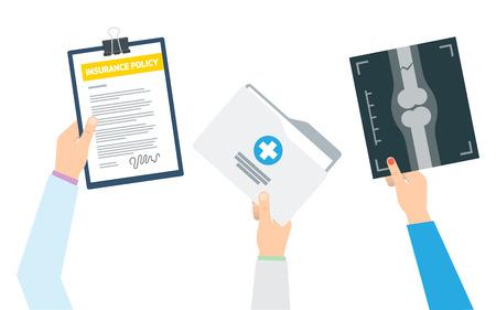 Form of health insurance. Healthcare. Vector illustration
