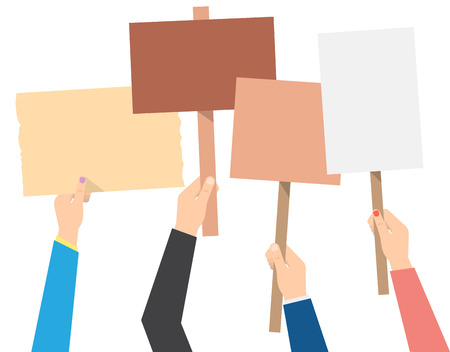 hands holding protest banners. isolated vector illustration