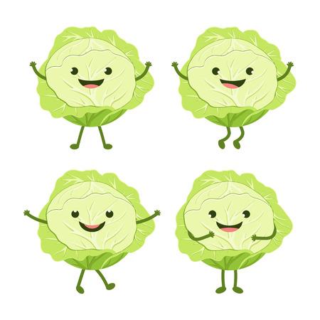 Cartoon-Grünkohl isoliert auf weißem Hintergrund mit lustigem nützlichem Gemüse