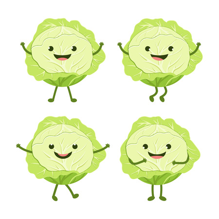 cartoon green cabbage isolated on white background set with funny useful vegetable