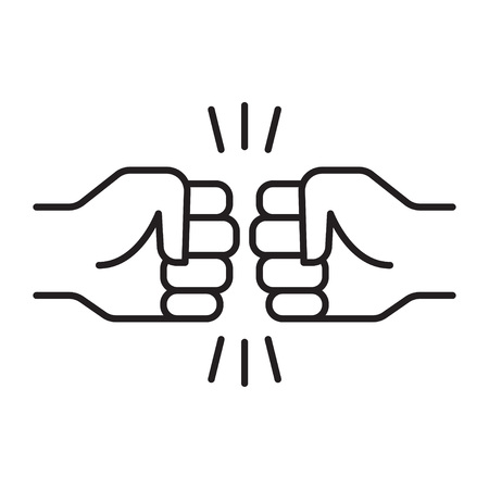 Fist bump. Friendship sign. Vector illustration on white background