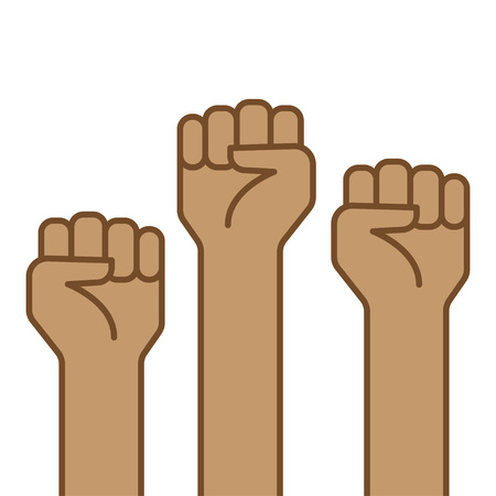 Fist hand up. Concept of freedom, solidarity, uprising vector illustration