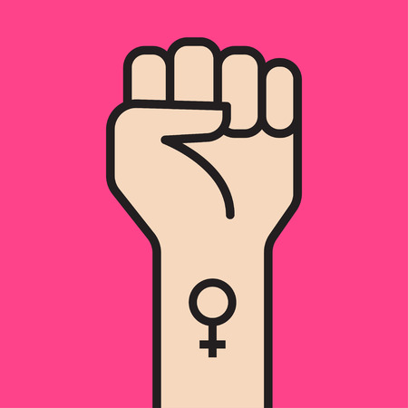 Woman hand with her fist raised up. Woman Feminism Protest. Vector illustration