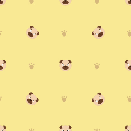 Seamless pattern with cute cartoon dog, can be used as a background, wallpaper, fabric and for other design