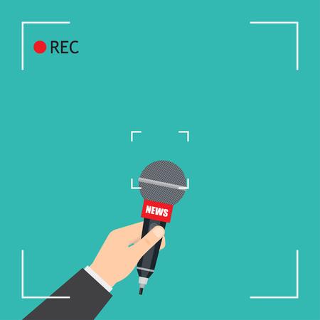 Mano con micrófono. Informe en vivo de Focus TV con marco de cámara y grabación. ilustración vectorial