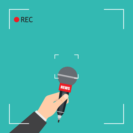 Hand with microphone. Focus TV live report with camera frame and record. vector illustration