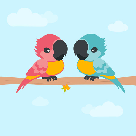 cute parrots on the cloth on the background of the sky, card with two birds, lovebirds