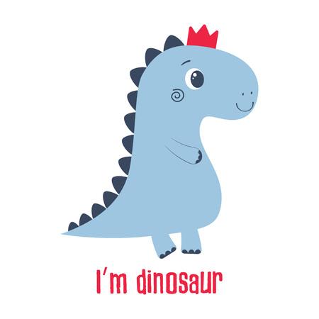 Ilustración simple de dinosaurio de dibujos animados en corona, imagen de animal lindo para cualquier diseño Ilustración de vector