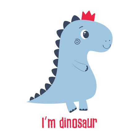 simple illustration of cartoon dinosaur in crown, picture of cute animal for any design