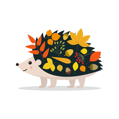 Autumn. Fall. Cute hedgehog and leaves. Vector illustrationon white background Ilustracja