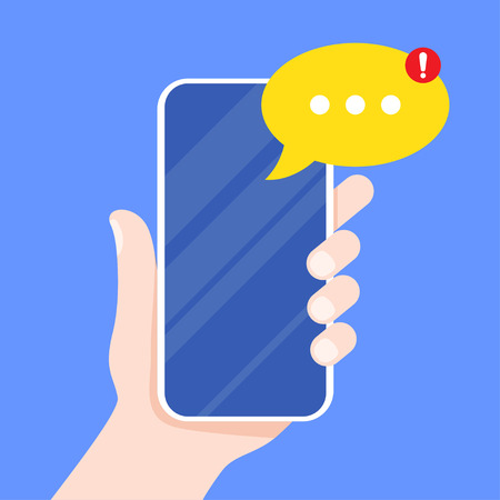 Mobile messenger app for texting messages. Hand holding smartphone with new message on screen. Chat, sms, tweet, instant messaging, mobile messenger concepts. vector illustration