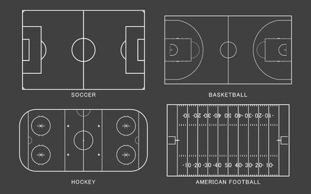 Set di campo sportivo. Football americano, calcio, basket, pista di hockey su ghiaccio, isolato su sfondo nero. Stile di arte di linea. Illustrazione vettoriale. Vettoriali