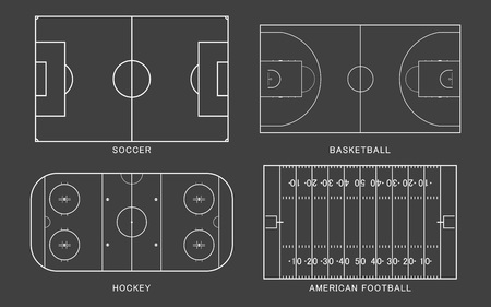 Set of sport field. American football, soccer, basketball, ice hockey rink, isolated on black background. Line art style. Vector illustration.