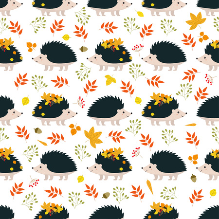 Autumn. Seamless pattern with hedgehogs and leaves. vector illustration Illustration